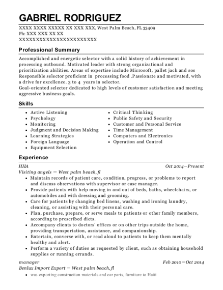 HHA resume example Florida