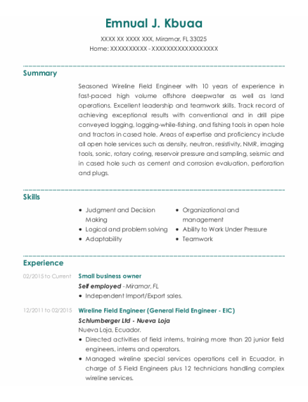 Small Business Owner resume example Florida