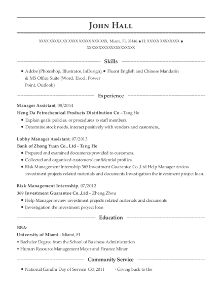 Manager Assistant resume format Florida