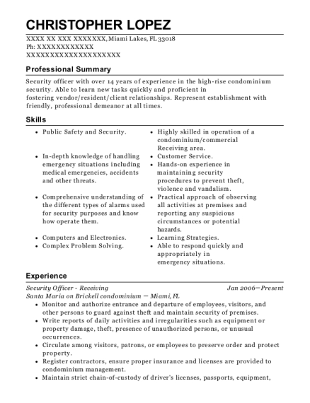 Security Officer Receiving resume example Florida