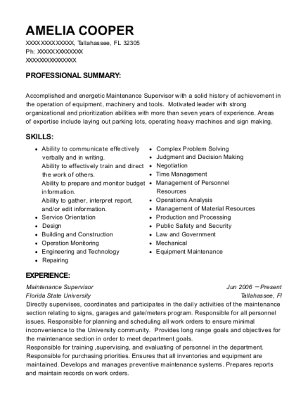 Maintenance Supervisor resume example Florida