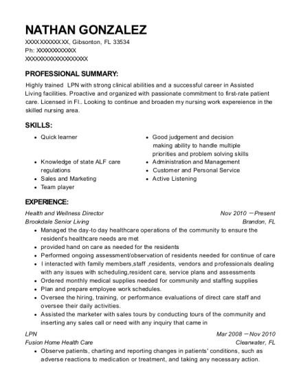 Health and Wellness Director resume sample Florida