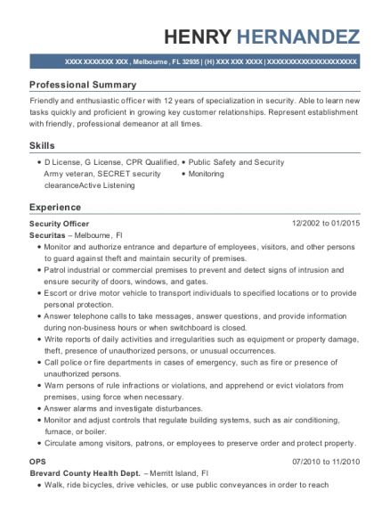 Security Officer resume sample Florida