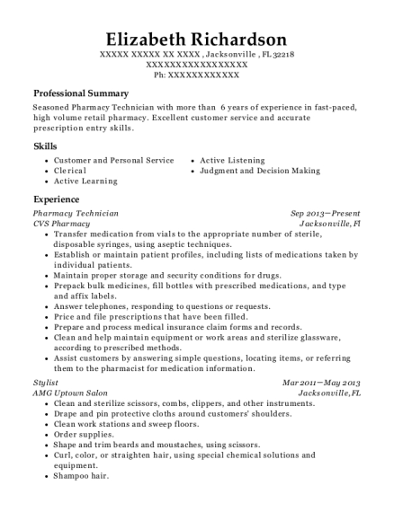 Pharmacy Technician resume template Florida