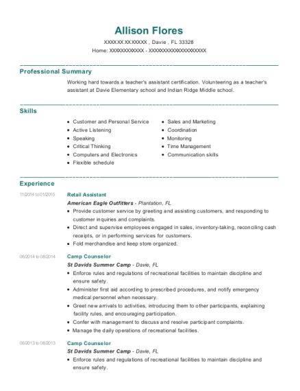 Retail Assistant resume template Florida