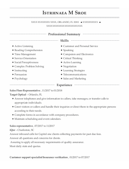 Sales Floor Representative resume format Florida