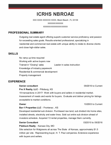 Senior Consultant resume sample Florida