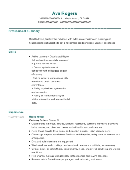 House keeper resume format Florida