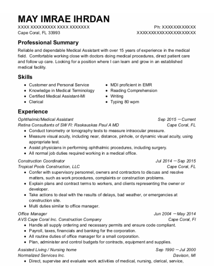 Certified Ophthalmic Technician resume format Florida
