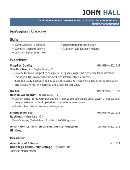 Supplier Quality resume template Florida