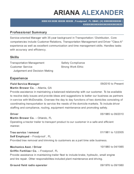 Field Service Manager resume example Florida