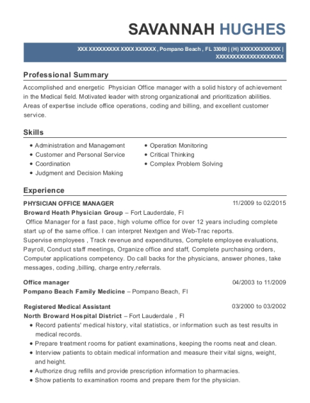 PHYSICIAN OFFICE MANAGER resume example Florida