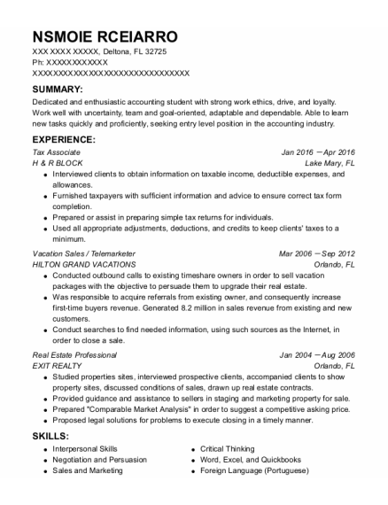 Tax Associate resume template Florida