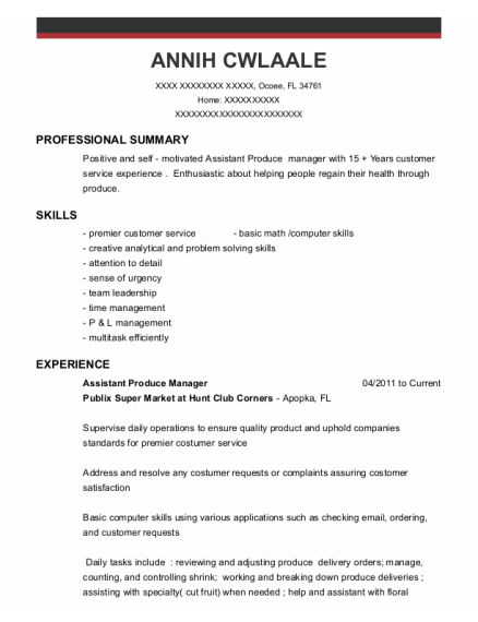 Assistant Produce Manager resume sample Florida