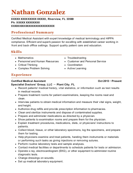 Certified Medical Assistant resume example Florida