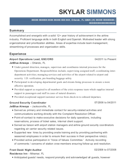 Airport Operations Lead resume example Florida