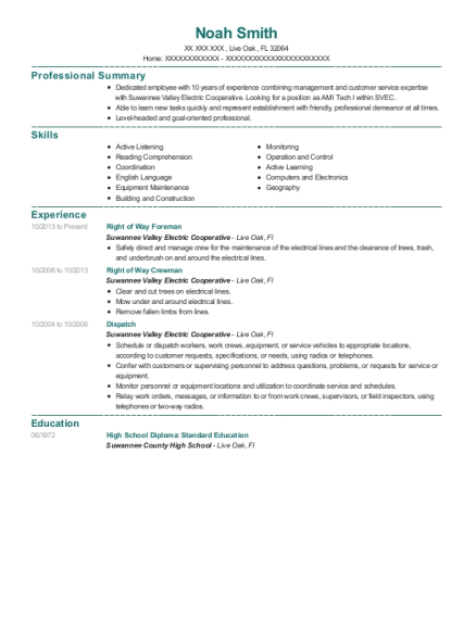 Right of Way Foreman resume template Florida