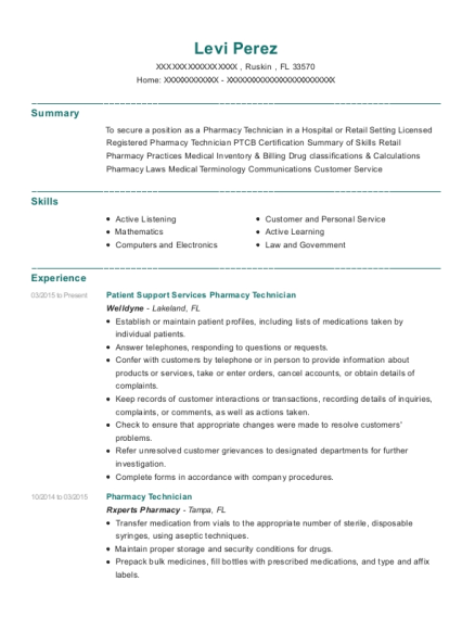 Patient Support Services Pharmacy Technician resume template Florida