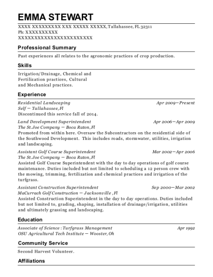 Residential Landscaping resume template Florida