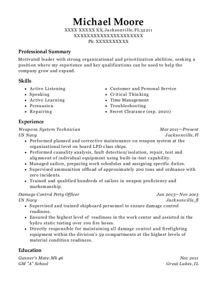 Weapons System Technician resume sample Florida
