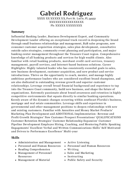 Vice President Manager II resume example Florida
