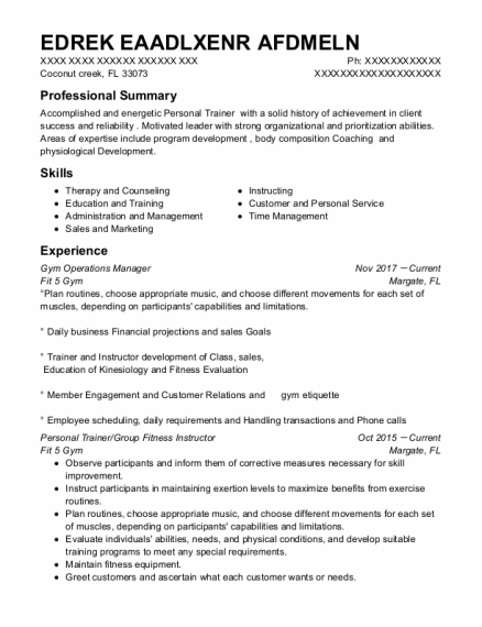 Master Trainer resume template Florida