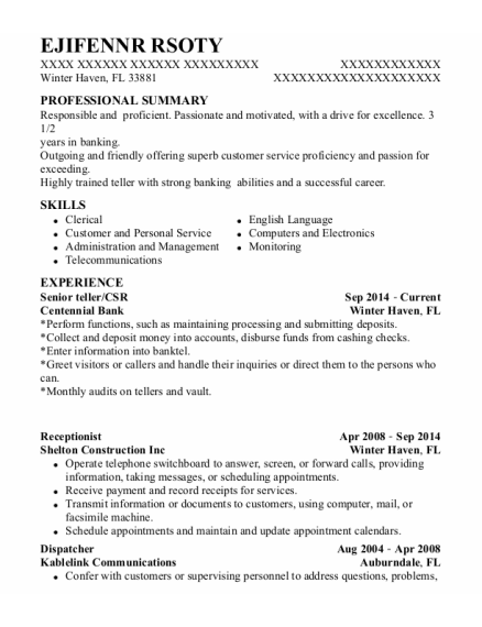Senior Teller resume example Florida