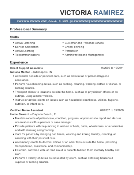 Direct Support Associate resume example Florida