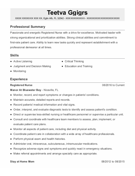 Registered Nurse resume template Florida