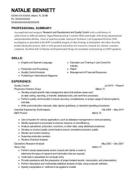 Quality Control resume template Florida