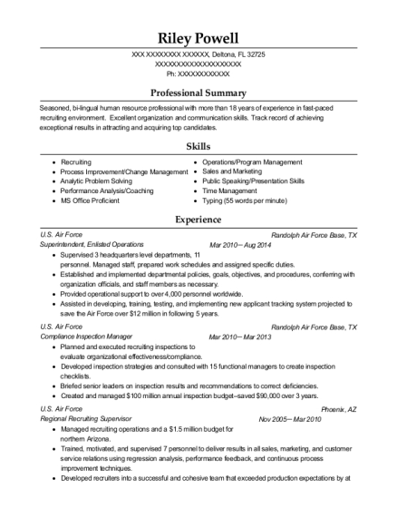 Superintendent resume example Florida