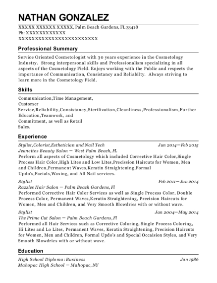 Stylist resume sample Florida