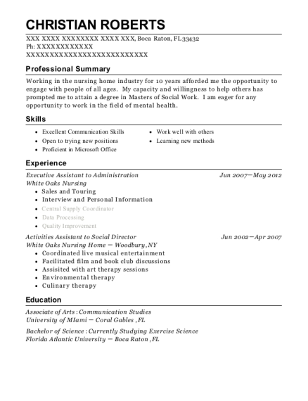 Executive Assistant to Administration resume template Florida