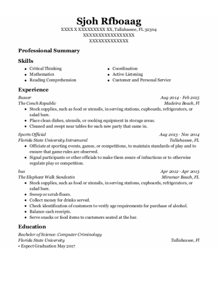 Busser resume example Florida