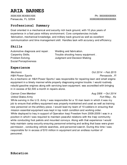 Mechanic resume sample Florida