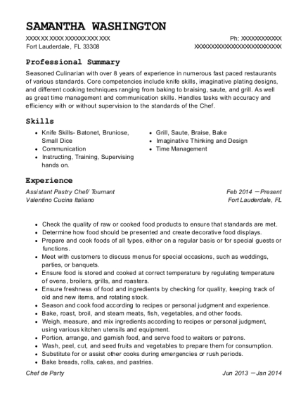 Assistant Pastry Chef resume template Florida