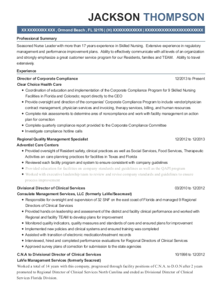 Director of Corporate Compliance resume template Florida