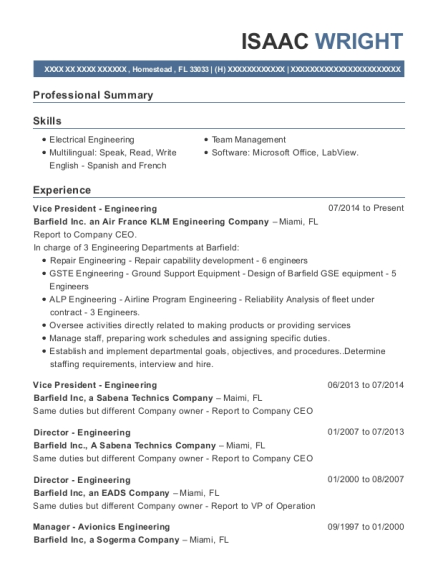 Vice President Engineering resume example Florida