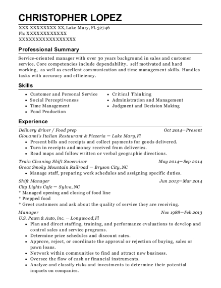Delivery driver resume example Florida