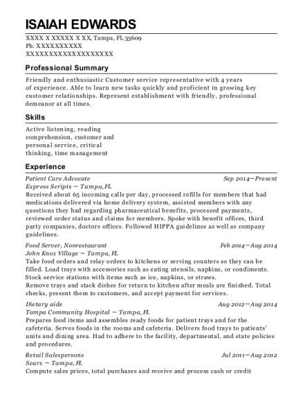 Patient Care Advocate resume sample Florida
