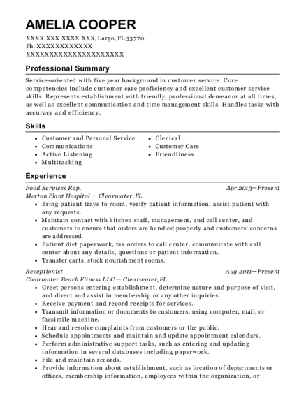 Food Services Rep resume example Florida