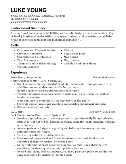 Front Desk resume example Florida