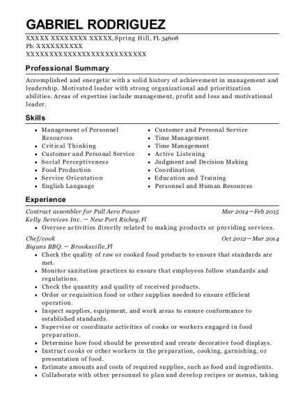 Contract assembler for Pall Aero Power resume template Florida