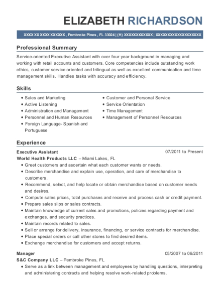 Executive Assistant resume sample Florida