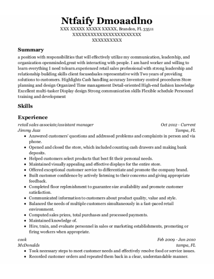 retail sales associate resume sample Florida