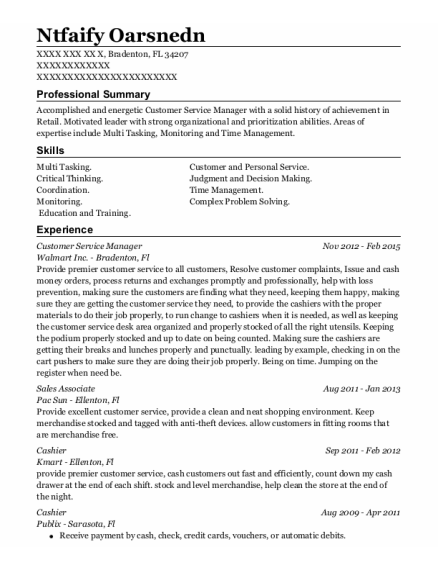 Customer Service Manager resume template Florida
