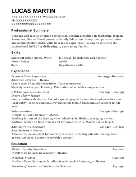 Personal Sales Supervisor resume template Florida