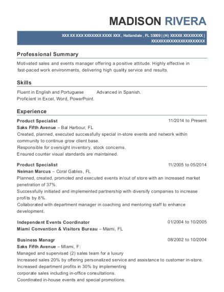 Product Specialist resume sample Florida