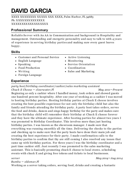 party host resume format Florida