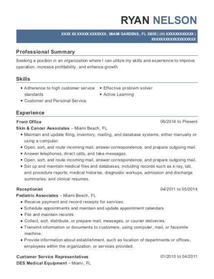 Front Office resume format Florida